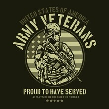 American Army Veteran For T Shirt Graphic