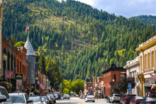 Main Street With It's Turn Of The Century Brick Buildings In The Historic Mining Town Of Wallace, Idaho, In The Silver Valley Area Of Northwest USA