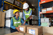 Female warehouse worker working at the storehouse . Logistics , supply chain and warehouse business concept .
