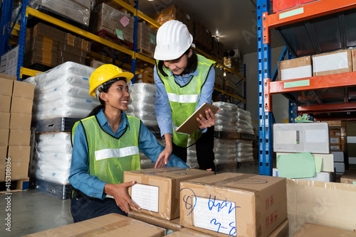 Obraz Female warehouse worker working at the storehouse . Logistics , supply chain and warehouse business concept . - fototapety do salonu