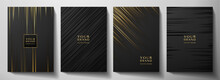 Modern Black Stripe Cover Design Set. Luxury Creative Gold Dynamic Diagonal Line Pattern. Formal Premium Vector Background For Business Brochure, Poster, Notebook, Menu Template