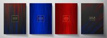 Modern Black, Blue, Red Stripe Cover Design Set. Luxury Creative Dynamic Line Pattern. Formal Premium Vector Background For Business Brochure, Poster, Notebook, Menu Template