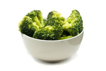 Broccoli In Bowl Isolated On White Background