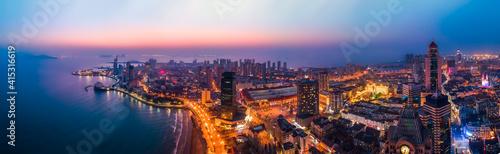 Tela Aerial photography of Qingdao Bay at night
