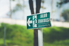 Jalur Evakuasi (Evacuation Route) Sign In Green Color On The Street
