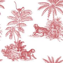 Toile Tropical Animals, Palms Tree, Plant Vintage Graphic Seamless Pattern. Monkey, Leopard, Tiger Botanical Jungle.