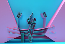 3D Render Concept Of Batsman Playing Cricket - Championship, 3D Art Design Poster Illustration.