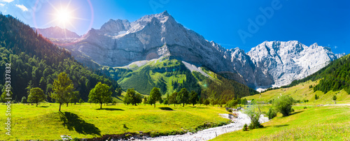 Fototapeta panoramic landscape with meadow and lake in Bavaria, Germany, at springtime obraz