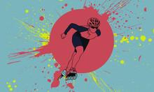 Athlete, Wearing A Helmet In Sports Equipment On Roller Skates