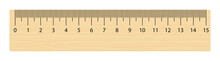 Realistic Wooden Ruler 15 Centimeters. Math Tool. Vector Illustration Isolated On White