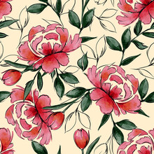 Vector Watercolour Red Blooming Floral Seamless Pattern, Line Sketch ,delicate Flowers, Green Leaves, Design For Fashion , Fabric, Textile, Wallpaper, Cover, Web , Wrapping And All Prints