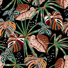 Stylish Dark Seamless Pattern Of Hand DrawnTropical Forest With Many Kind Of Exotic Plants And Leaves In Vector Brush Style,Design For Fashion Fabric,web,wallpaper,and All Prints