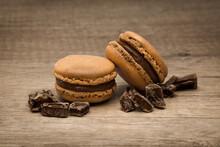 Savoureux Macarons Au Chocolat D'un Pâtissier Français
