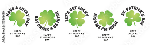 Obraz St Patrick's Day stickers label icons design three four leaf clovers on isolated white background banner - fototapety do salonu