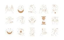 Boho Magic Set. Alchemy Magic Witch Logo, Hand Drawn Boho Mystic Doodle Esoteric Symbols. Vector Set