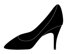 Shoe. Silhouette With White Piping. Womens Shoes With Heels. Vector Illustration. Outline On An Isolated White Background. Valentines Day, Wedding. Ladies Accessory. Lost Shoe. Fashion And Style.
