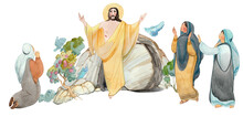 Illustration Of Easter Jesus Christ Is Risen, Coffin, Cave Of Resurrection, Isolated On White Background Watercolor Hand Drawn.  For Easter Publications, Print, Edition, Banner. Religious Church Bord