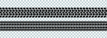 Set Of Seamless Car Tire Tracks Isolated On Transparent Background, Seamless Vector Texture