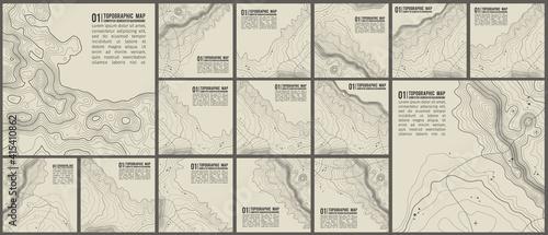Cuadros en Lienzo Topographic pattern texture vector Set