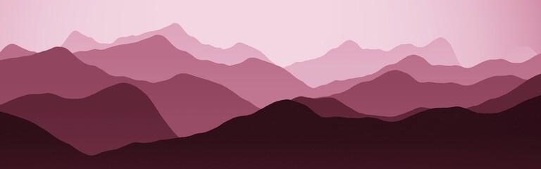 creative hills ridges nature landscape - flat computer graphics backdrop illustration