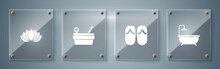 Set Bathtub, Flip Flops, Sauna Bucket And Ladle And Lotus Flower. Square Glass Panels. Vector.