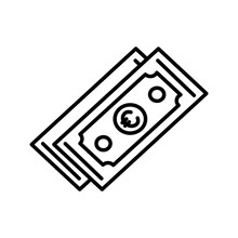 Illustration Of Euro Currency Line Vector Icon Isolated On White Background
