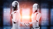 canvas print picture 3D rendering humanoid robot handshake to collaborate future technology development by AI thinking brain, artificial intelligence and machine learning process for 4th industrial revolution.