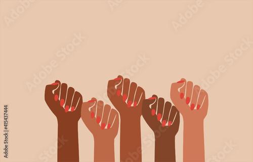 black fist people, brown power, black history month, female pride, blm lives mat Fototapet