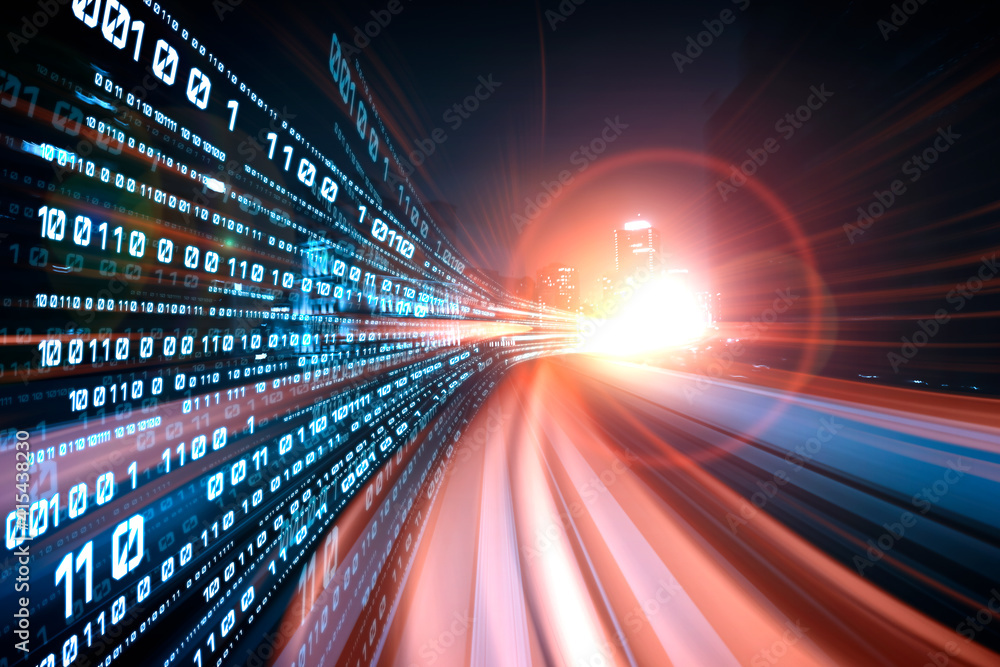 Fototapeta Digital data flow on road with motion blur to create vision of fast speed transfer . Concept of future digital transformation , disruptive innovation and agile business methodology .