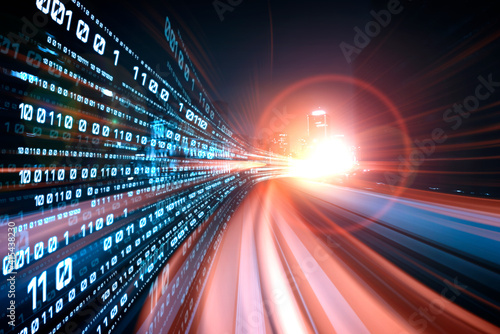 Fototapeta Digital data flow on road with motion blur to create vision of fast speed transfer . Concept of future digital transformation , disruptive innovation and agile business methodology . obraz