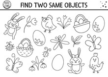 Find Two Same Objects. Easter Black And White Matching Activity For Children. Funny Spring Educational Logical Quiz Worksheet For Kids. Simple Printable Game With Cute Bird, Egg, Bunny, Basket
