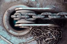 Vessel Chain Close Up On Windlass Anchor Winch Capstan