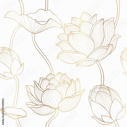Tapety kolonialne  luksusowy-lotos-bezszwowe-tapeta-wektor-wzor-zloty-lotos-linii-kwiaty-wzor-na-tlo-opakowania-drukuj