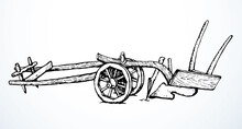 Ancient Plow. Vector Drawing Object