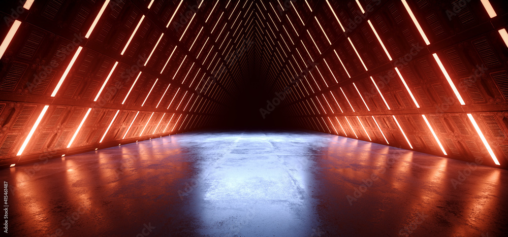 Fototapeta Triangle Alien Spaceship Tron Cyber Orange Red Blue Glowing Tunnel Corridor Sci Fi Futuristic Dark Studio Hangar Warehouse Concrete Glossy Underground Hallway Background 3D Rendering