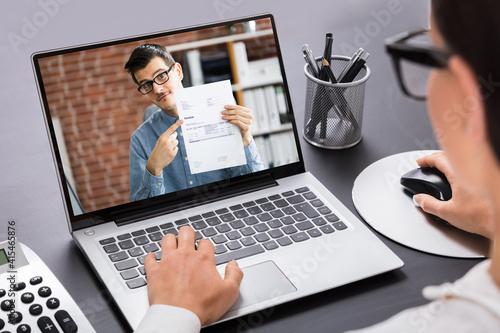Fototapeta Businesswoman Calculating Invoice obraz