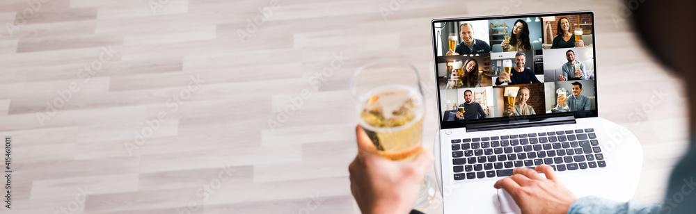 Fototapeta Online Virtual Beer Drinking Party