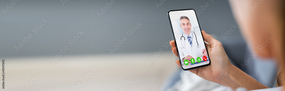 Fototapeta Person Videochatting With Doctor