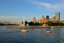 Boats In Front Of Point State Park, Pittsburgh, Pennsylvania