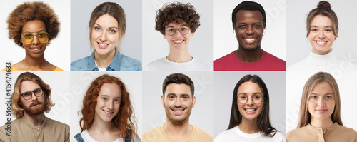 Collage of portraits and faces of multiracial millennial group of various smiling young people, good use for userpic and profile picture. Diversity concept - fototapety na wymiar