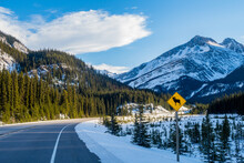 Beautiful View On The Icefields Parkway (Highway 93) With A Bighorn Sheep Warning Sign