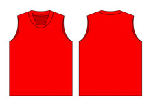 Blank Red Tank Top Template Vector On White Background.Front And Back Views.