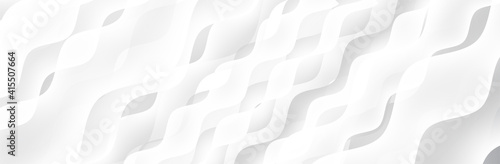 Obraz Abstract White Gray background. Wave pattern. Blur neutral backdrop. Curve texture. Lecture, seminar, symposium, workshop, conference or briefing presentation template. White vector illustration - fototapety do salonu