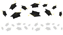 Graduation Cap Backdrop On Isolated Seamless ,Congratulations Graduates Class 2021. Template For Graduation Design Isolated On White Background ,Vector Illustration EPS 10