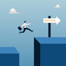 Next Level Success Of Business Concept. Businessman Jumping To Achieve Goal Illustration.