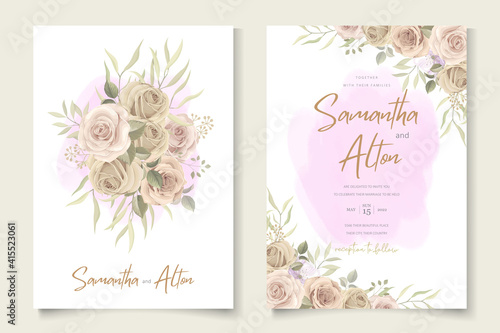 Obraz Soft floral wedding invitation template - fototapety do salonu