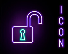 Glowing Neon Line Open Padlock Icon Isolated On Black Background. Opened Lock Sign. Cyber Security Concept. Digital Data Protection. Safety Safety. Colorful Outline Concept. Vector.