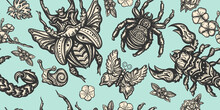 Insects. Vintage Background. Stag Beetle, Butterfly, Snail, Scorpion And Spider. Old School Tattoo Vector Seamless Pattern