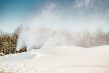 Several Snow Cannons In The City Center Produce Snow For Winter Sports. Riga, Agenskalns, 2021 Winter.