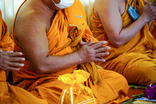 Closeup Of Monk's Hand With Pray.